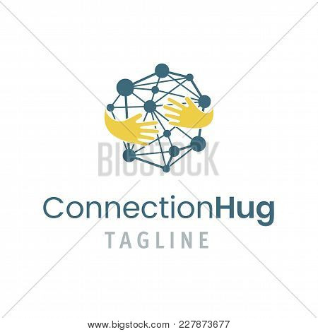 Connection Hug Logo Template. Vector Illustration Of Creative Emblem With Concept Of Friendship, Tea