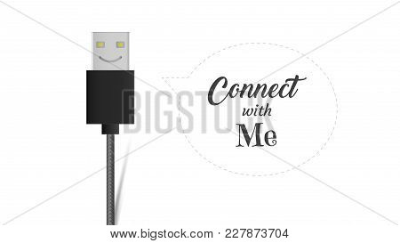 Usb Cable Connector Cord Smiling Icon, Flat Vector Cable Port Sign On White Background With Connect