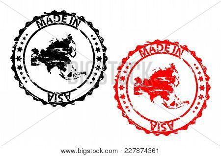 Made In Asia - Rubber Stamp - Vector - Asia Continent Map Pattern - Black And Red