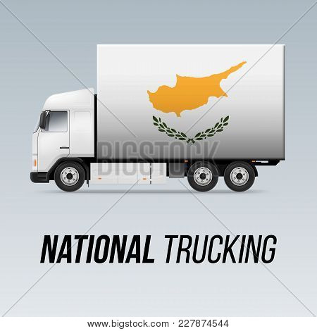 Symbol Of National Delivery Truck With Flag Of Cyprus. National Trucking Icon And Cypriot Flag