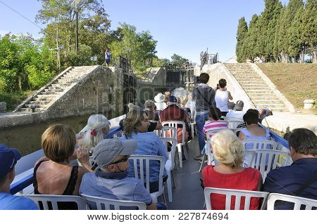 Beziers, France - September 4, 2017: Passage Of A Lock To Fonserannes On The Canal Du Midi Near Bezi