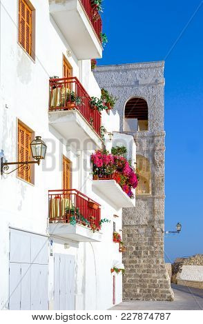 Monopoli, Italy, An House With Flowers In The Seafront, Near The Sixteenth Century Castle