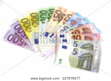 Background Of European Banknotes Purposely Out Of Focus