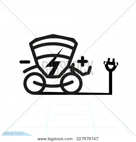 Electric Carriage Vector Icon. Trekking E-bike Line Silhouette With Electricity Flash Lighting Thund