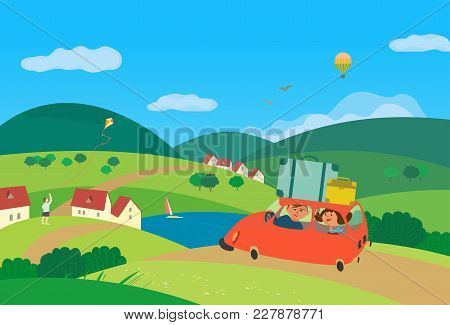 Travel By Car Concept. Young Happy Couple Tripping Outside, Drive Car By Rural Road To Village Commu