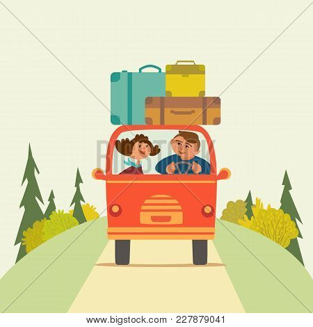 Travelling By Car Icon. Young Happy Travellers Couple Take A Trip By Minivan. Family Go On Microbus