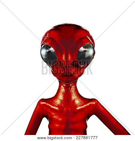 Extraterrestrial Humanoid Creature, Alien Character, Ufo Visitor, 3d Illustration
