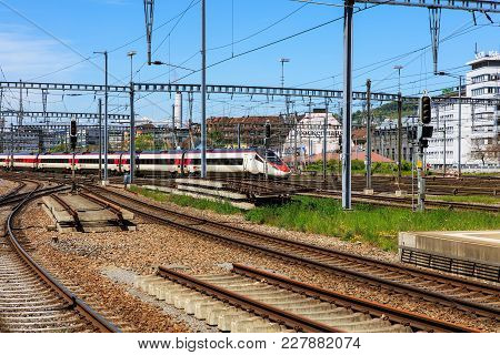 Zurich, Switzerland - 6 May, 2016: View From A Platform Of The Zurich Main Station. Zurich Main Stat