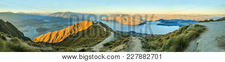 Breathtaking, Stunning Panoramic Landscape View From Roys Peak On Lake Wanaka With Golden Sunshine L