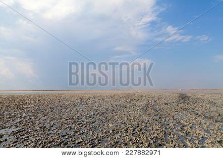 Clay In Flat Plain, Steppe, Salt, Salt Lake, Heat And Sky - A Typical Landscape On The Arabatskaya A