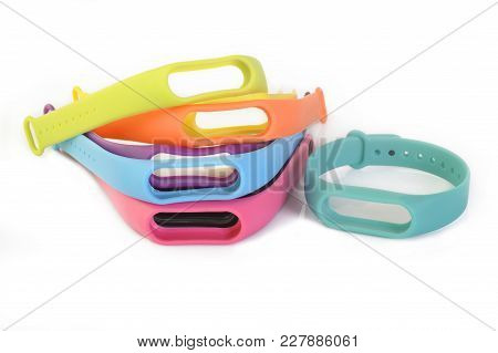 Multicolored Rubber Wristband At On White Background
