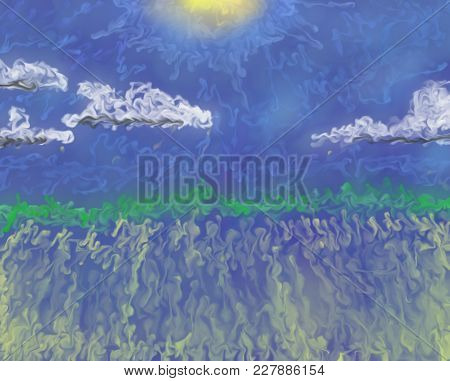 Sunny Day Cloud Scape Abstract Oil Painting