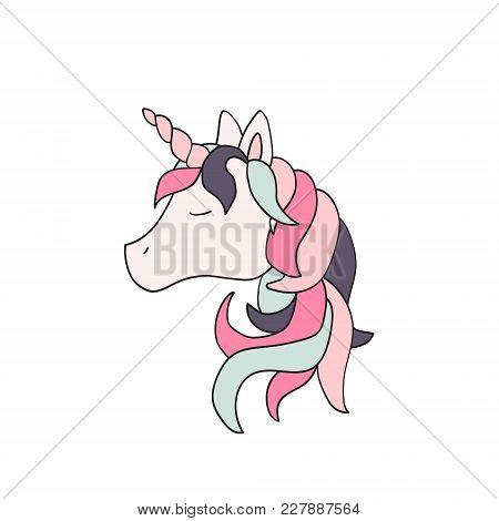 Cute Animal. Vector Unicorn Illustration Isolated On White Background. For Children
