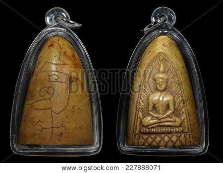 Thai Buddhist Amulets, Carved Ivory Figure Of A Seated Buddha.