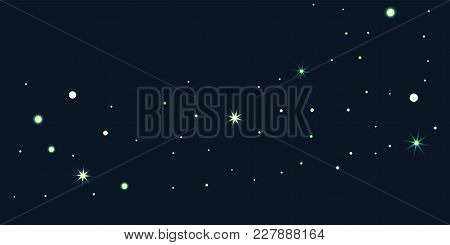Abstract Star Of Confetti. Falling Starry Background. Random Stars Shine On A Black Background. The