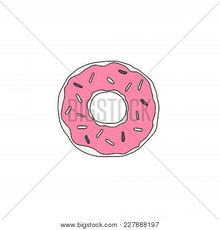 Sweet Dessert. Vector Donut Illustration With Glaze