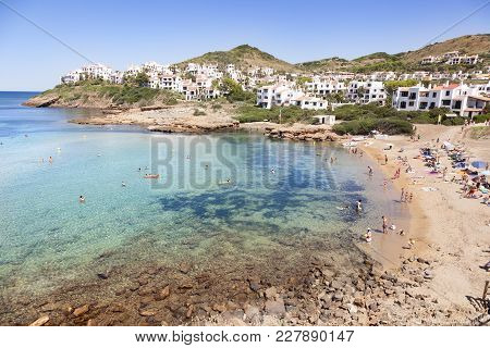 Menorca, Spain-august 27, 2015: Panoramic Views Of A Beach Full Of People On Summer In Menorca, Spai