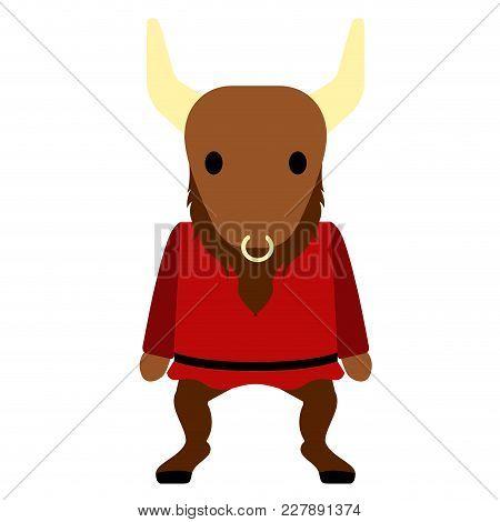 Isolated Cute Minotaur Icon. Vector Illustration Design