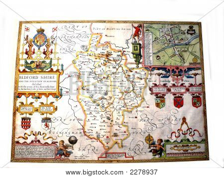 John Speed Map Of Bedfordshire 1627