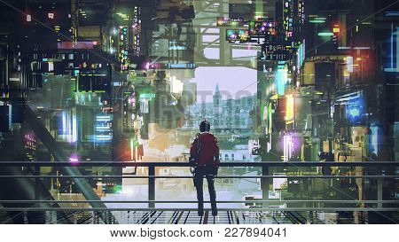 Man Standing On Balcony Looking At Futuristic City With Colorful Light, Digital Art Style, Illustrat