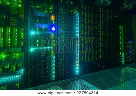 Data Center, Server Room. Internet And Network Telecommunication Technology.