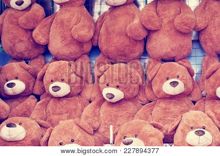 Teddy Bears On A Wall As Prizes At A Carnival