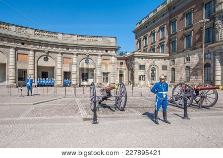 Stockholm, Sweden - May 1, 2009: Changing Of The Guards At The Royal Palace In Stockholm. This Milit