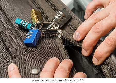 Suitcase Locked With Many Combination Locks, It Is Opened With A Ballpoint Pen, Theft From A Suitcas