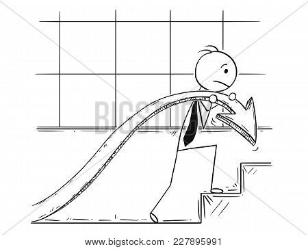 Cartoon Stick Man Drawing Conceptual Illustration Of Businessman Carry Profit Chart Graph Arrow Up S