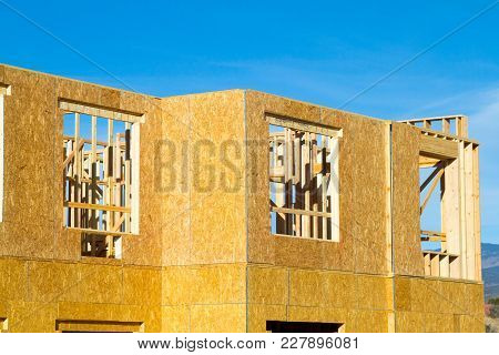 Residential apartment, condominium construction using particle board OSB poster