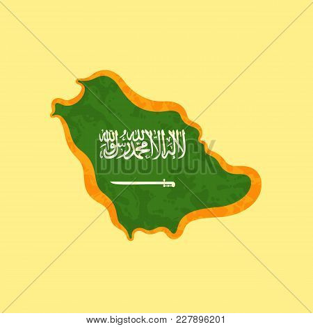 Map Of Saudi Arabia Colored With Saudi Arabian Flag And Marked With Golden Line In Grunge Vintage St
