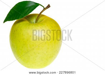 Single Ripe Green Apple With Green Apple Leaf Isolated On White Background. Apple And Leaf.
