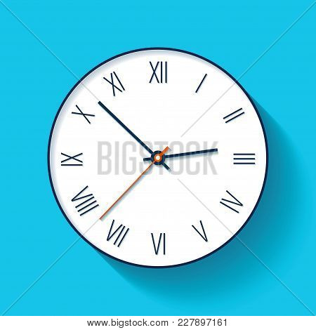 Simple Clock Icon In Flat Style With Roman Numerals. Minimalistic Timer On Color Background. Busines