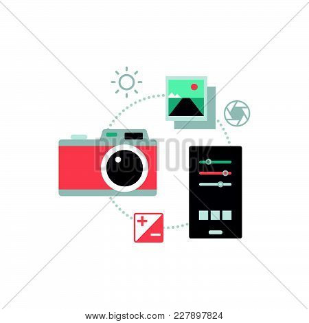 Digital Camera And Creative Photo Retouching App On A Smartphone