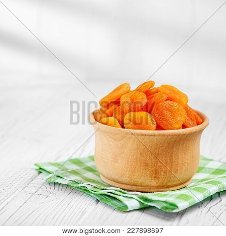 Turkish Dried Apricots In The Bowl. Square.   The Concept Is Healthy Food, Vegetarianism, Diet, Vita