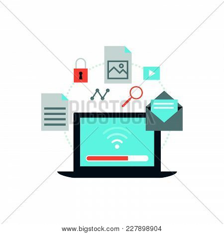 Laptop With Files Icons And Wireless Connection