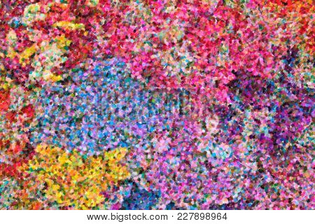Abstract Impressionist Art Work In Pointillist Style - Brush Strokes Of Oil Painting - Colorful Abst