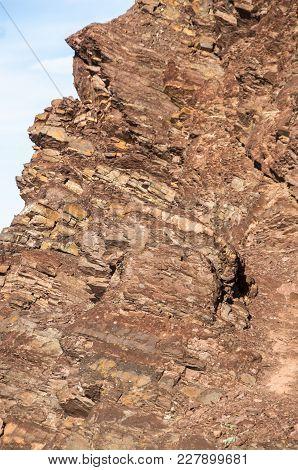Volcanic Rock Texture. Brown Texture Of Rock.