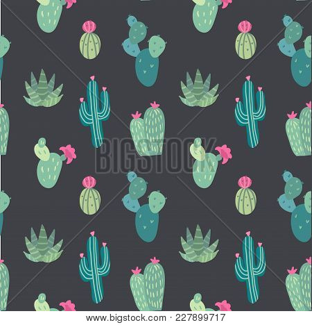 Vector Seamless Pattern With Succulents And Cactuses With Inky Texture In Glass Terrariums. Trendy T