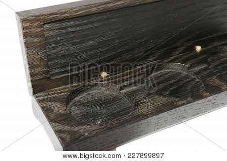 Box Of Oak For Coins On A White Background.