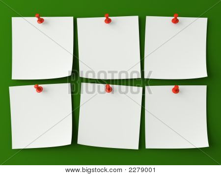 Sticker Notes Isolated On The Green Background