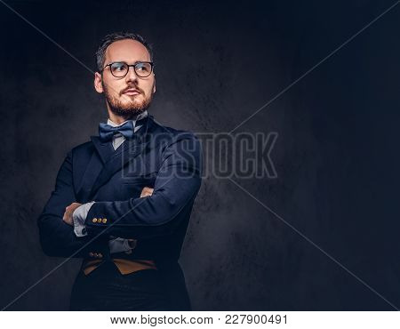 Studio Portrait Of A Handsome Bearded Male In A Casual Suit.