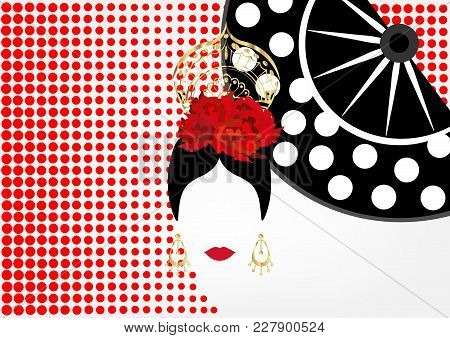 Vector Portrait Of Traditional Latin Or Spanish Woman Dancer , Lady With Gold Accessories Peineta, E
