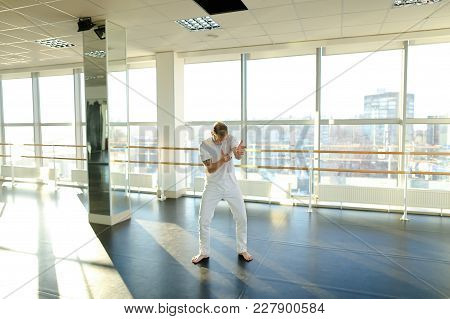 Rehabilitation Specialist Dancing During Photoshoot In Honor Of Birthday In Gym, Smiling Boy Improvi