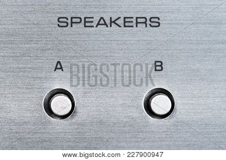 Speakers Switch Buttons On Aluminium Panel, Silver