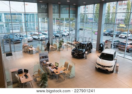 Kazan, Russia - October 19, 2017: Car In Showroom Of Dealership Nissan In Kazan City. View From The