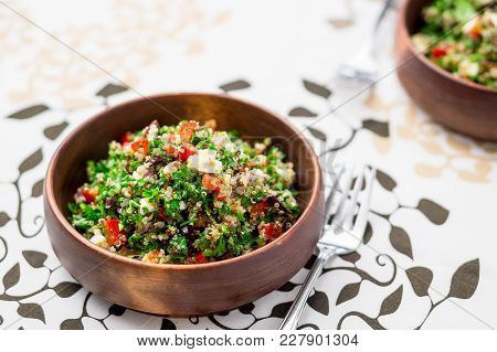 Greek Style Tabbouleh Salad. This Healthy Dish Mixes Tabbouleh & Greek Style Salads, Using Fresh Par