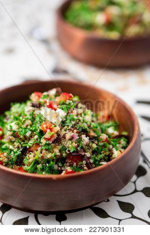 Quinoa Tabbouleh Salad Bowl. This Healthy Dish Mixes Tabbouleh & Greek Style Salads, Using Fresh Par