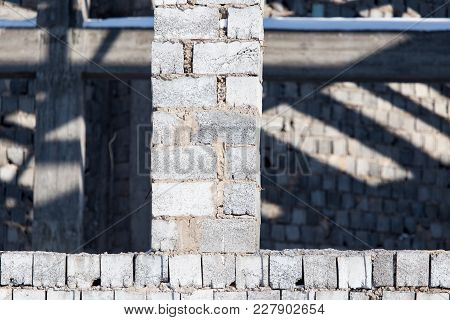 Bricks In A Newly Built House As A Background .