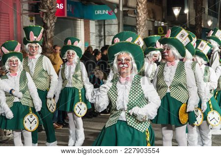 Parade Costumed Characters,  Through The Streets Of The City. February 11, 2018, Torrevieja, Spain.